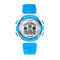 Waterproof Mens Boys LED Digital Quartz Alarm Date Sports Wrist Watch Sky blue Malaysia