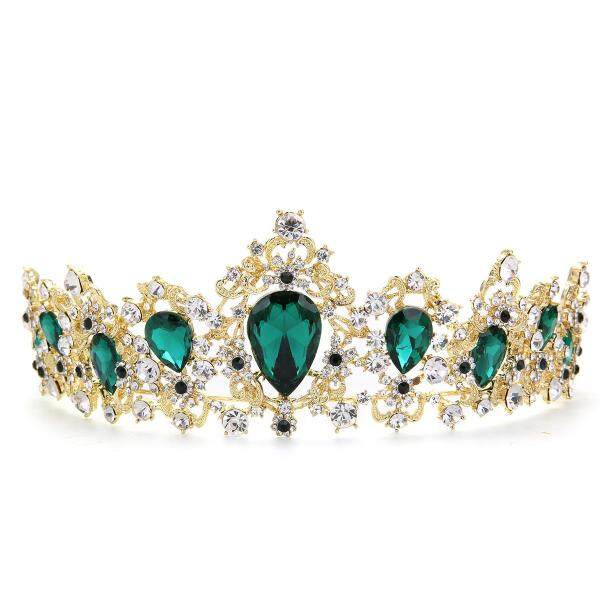 Wedding Bridal Green Crystal Crown Tiara Headband Hair Accessories Jewelry USA - intl