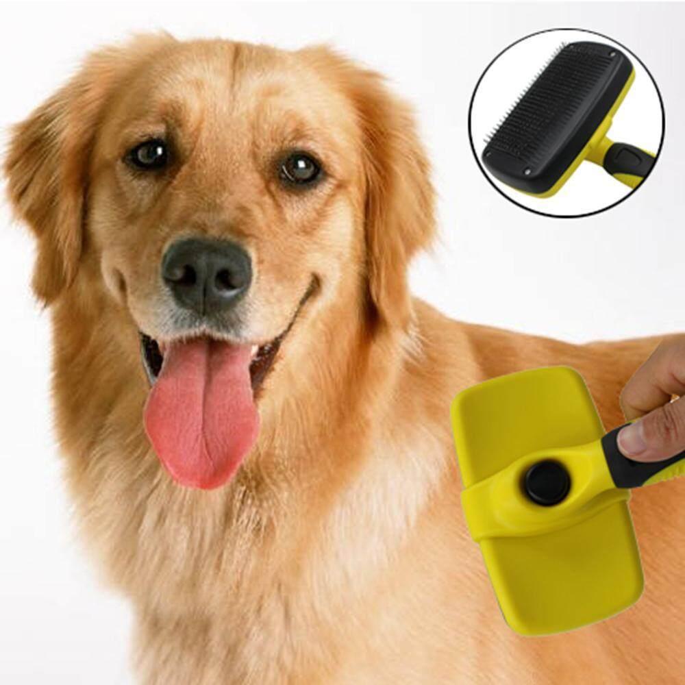 Wedzwe Self Cleaning Slicker Brush-Hewan Peliharaan Anjing Kucing Dandan Sikat Shedding Brush Membantu Striping