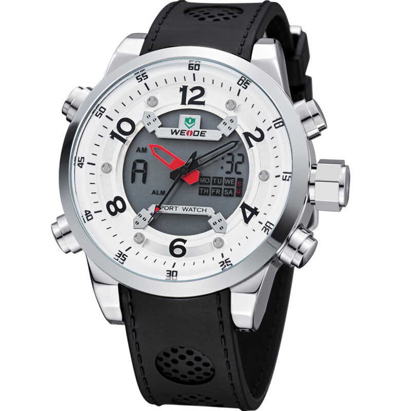 WEIDE WH3315 Mens Waterproof Outdoor Sport LCD Digital Analog Wristwatch w/ Alarm / Back Light - White (1 x LR626) Malaysia