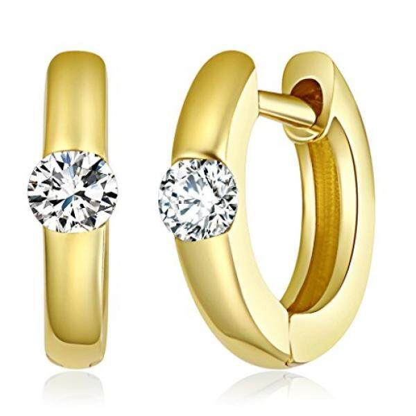Wellingsale WANITA 14 K Kuning Gold Dipoles 1 Mm Mewah Huggies Anting-Anting Hoop (9 Mm Diameter)-Internasional