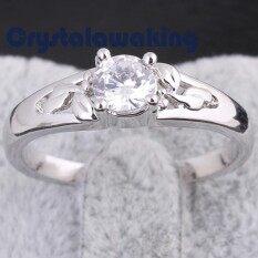 Putih Batu Permata Berlapis Emas Bertatahkan Pernikahan Cincin Tunangan Cincin Dekorasi 16 Mm