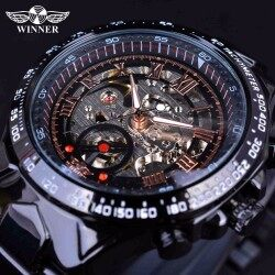 WInner 2017 Sport Racing Design Stainless Steel Case Men Military Watch Top Brand Luxury Automatic Mechanical Skeleton Watch