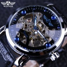 Winner Black Skeleton Designer Blue Engraving Clock Men Leather Strap Mens Watches Top Brand Luxury Automatic Watch Montre Homme Malaysia