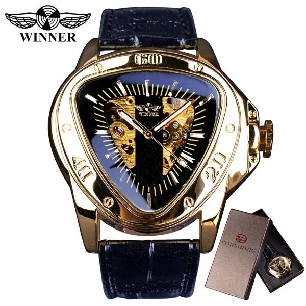 Winner Creative Racing Design Triangle Design Silver Skeleton Dial Mens Watch +BOX KK88 Malaysia
