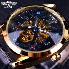 Winner Fashion Casual Black Dial Golden Case Designer Men Watches Top Brand Luxury Automatic Skeleton Luxury Watch Men Clock Men Malaysia