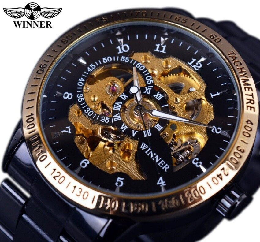 Winner GMT854 Retro Classic Scale Golden Case Small Dial Design Relogio  Masculino Mens Automatic Watches Top 5f1cc02859