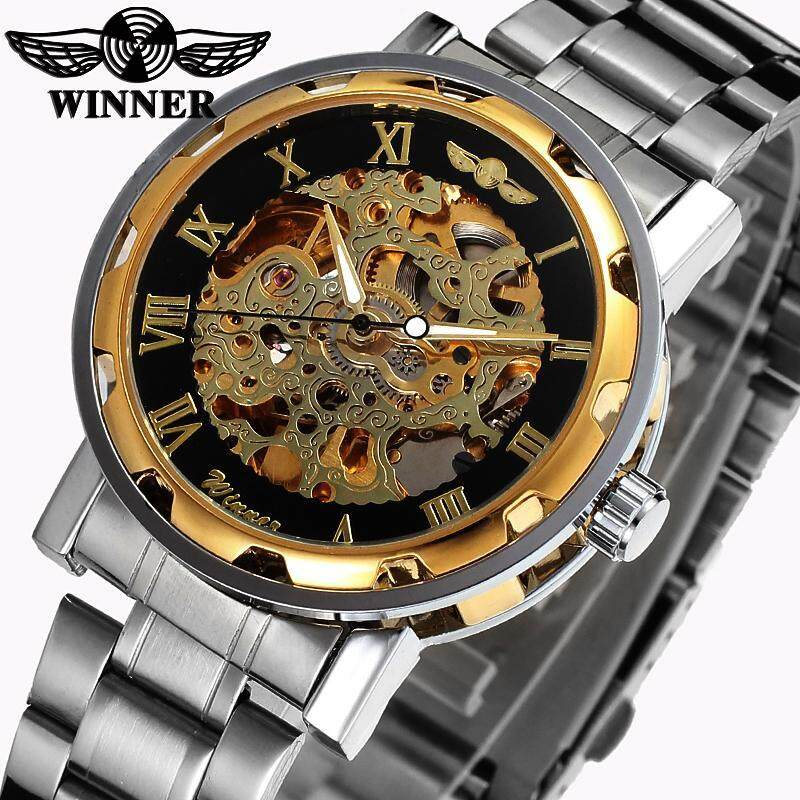 Winner Luxury Brand Sport Men Automatic Skeleton Watch Mechanical Military Watches Men Gold Silver full Steel Stainless Clock Malaysia