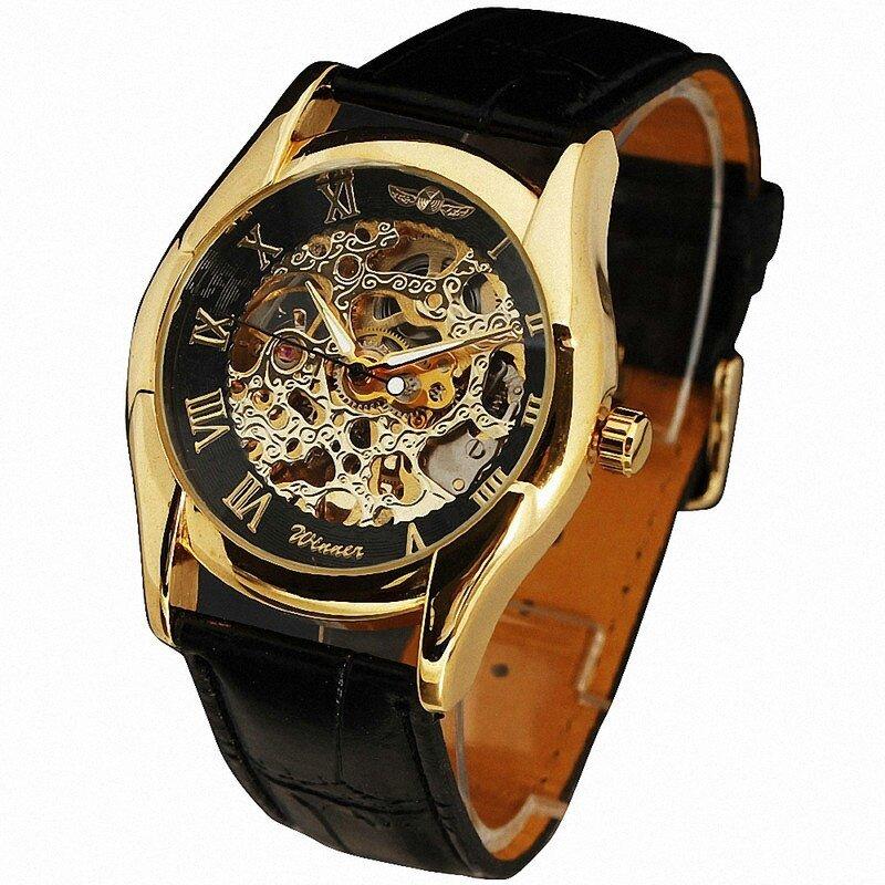 Hình ảnh WINNER Luxury Vintage Men's Automatic Mechanical Wrist Watch Jam Tangan Skeleton Dial Leather Strap