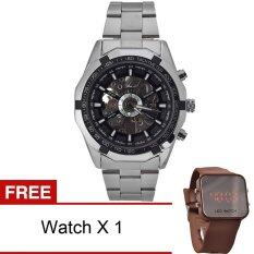 WINNER Men Skeleton Dial Automatic Mechanical Stainless Steel Watch (Black) Malaysia