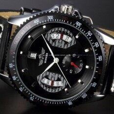 WINNER Mens Self Winding Automatic Mechanical Watch Sport Black Leather Day Date Wristwatch