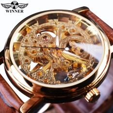 Winner WIN358-5 Transparent Golden Case Luxury Casual Design Brown Leather Strap Mens Watches Top Brand Luxury Mechanical Skeleton Watch – intl
