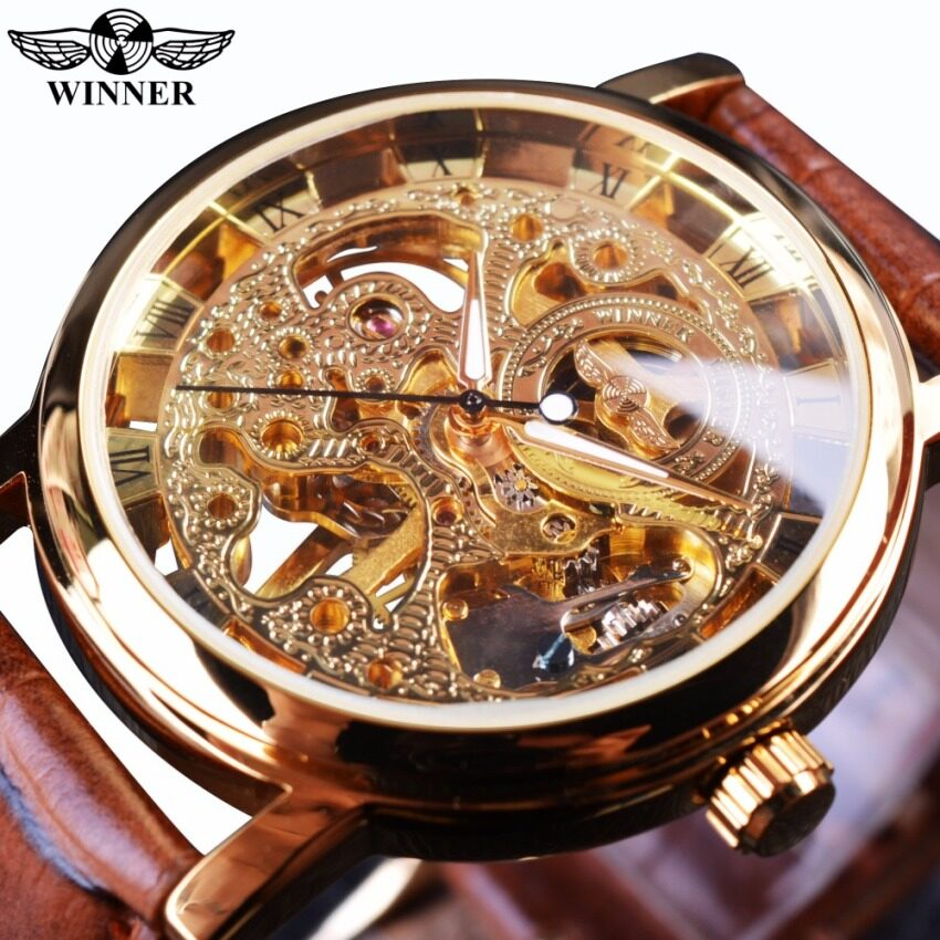Winner WIN358-5 Transparent Golden Case Luxury Casual Design Brown Leather Strap Mens Watches Top Brand Luxury Mechanical Skeleton Watch Malaysia
