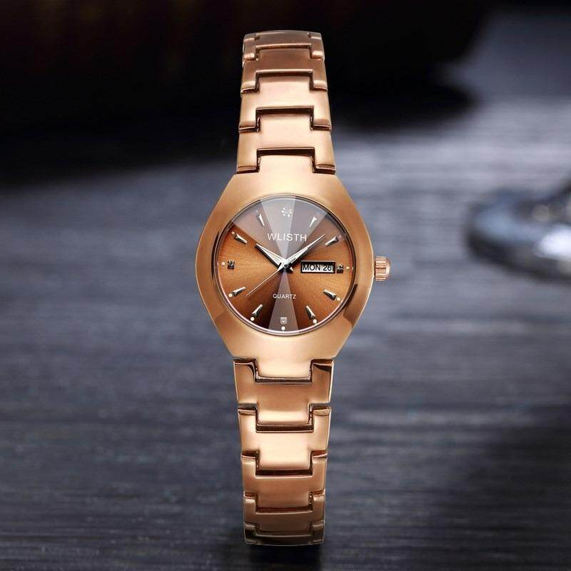 Deals For Wlisth Women Brand Fashion Luxury Watch Alloy Double Calendar Waterproof Ladies Lovers Quartz Watches