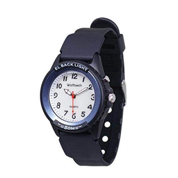 Wolfteeth Analog Quartz Boys Wrist Watch with Second Hand Luminous Backlight White Dial Water Resistant Fashion