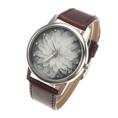 woman watch Imitation water leather belt lotus fashion watch female watch student #dark brown Malaysia