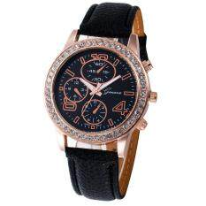 Women Casual Checkers Faux Leather Quartz Analog Wrist Watch Black