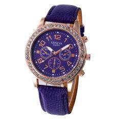 Women Casual Checkers Faux Leather Quartz Analog Wrist Watch Purple Malaysia