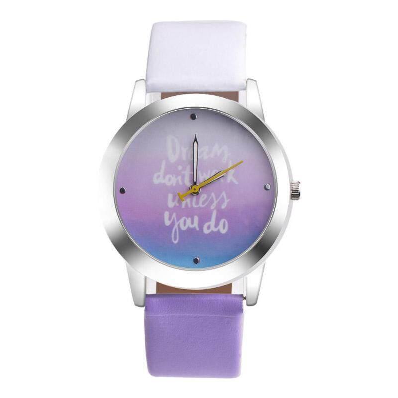 Women Chic Fashion Leather Strap Quartz Round Wrist Watch(Purple) Malaysia