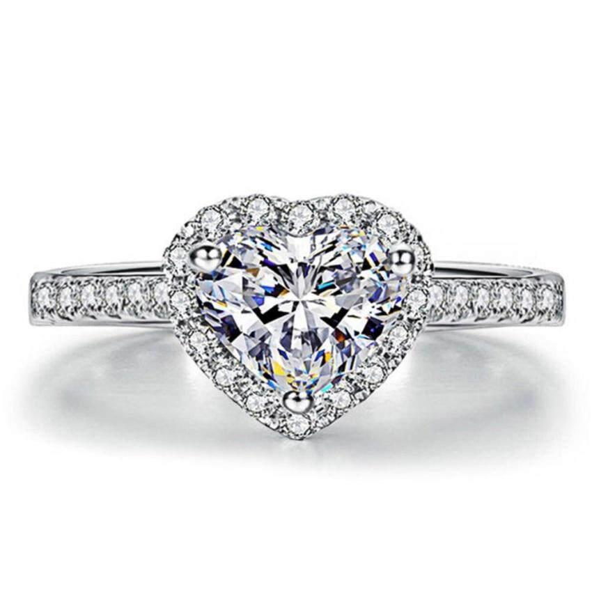 Wanita Indah Cinta Simulasi Cincin Berlian Kristal Cincin Tembaga Perak-Internasional