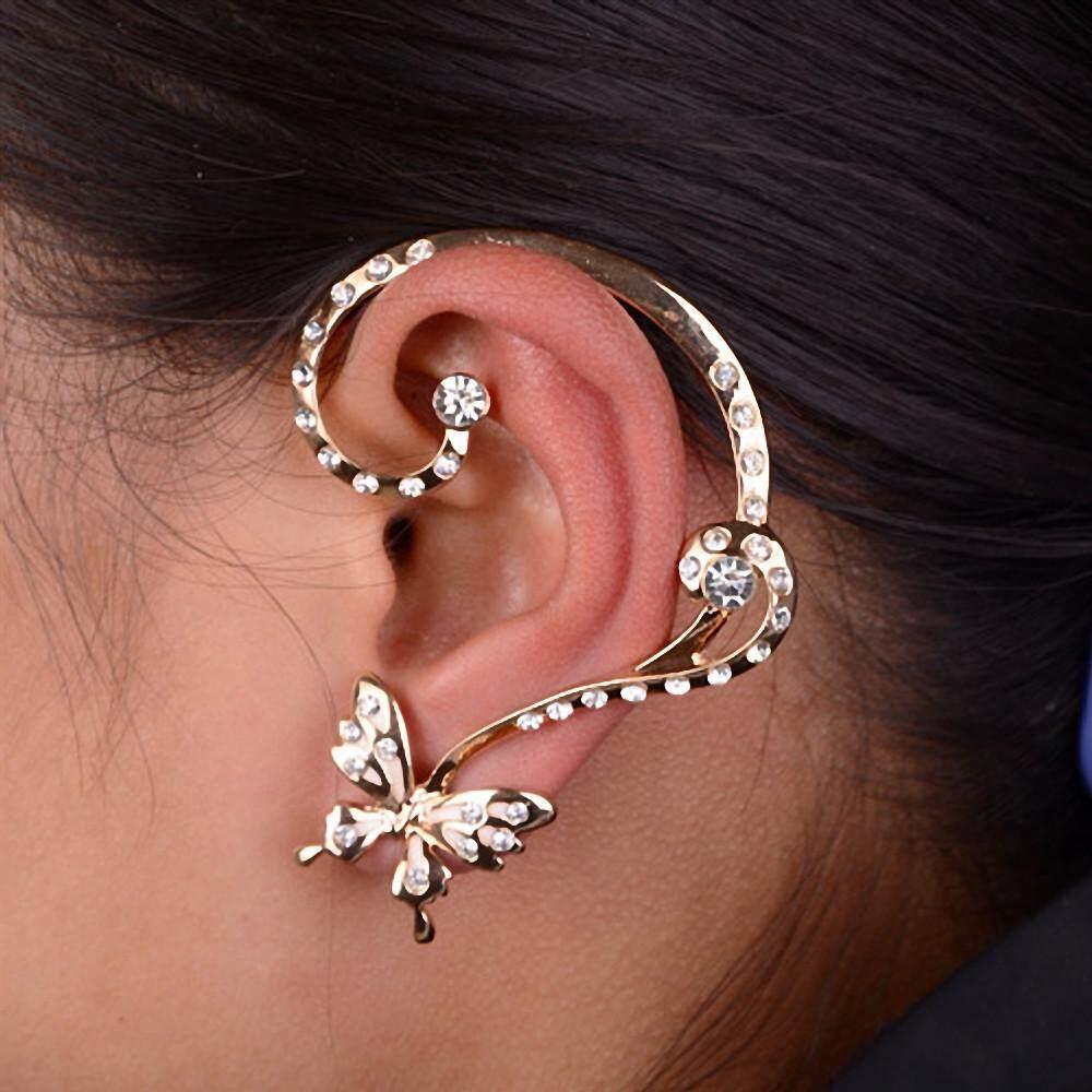 Women Fashion Crystal Butterfly Cuff Ear Clip Wrap Earring Gift - intl