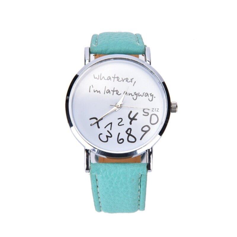 Women Fashion Watch Bracelet Crystal Dial Thin Leather Analog Quartz Wristwatch Mint Malaysia