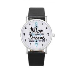Women Follow Dreams Words Pattern Leather Watch Black Malaysia