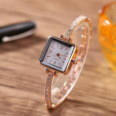 Women Inlaid Rhinestone Ultra-Thin Band Square Dial Bracelet Wrist Watch (rose Gold) By Gloryworld.