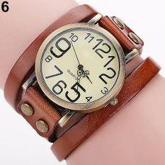 Women Men Punk Rock Faux Leather Winding Bracelet Wrist Watch Jewelry (Black) Malaysia