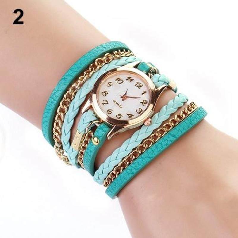 Women Multilayer Faux Leather Alloy Braided Bracelet Wrist Watch Jewelry (Sky Blue) Malaysia