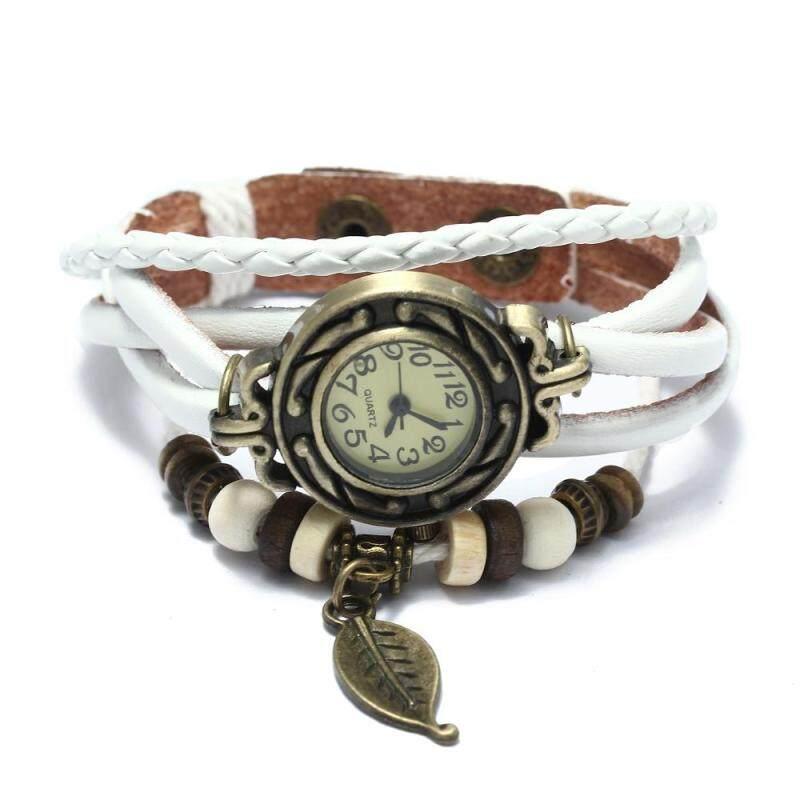 Women Quartz Bracelet Wrist Watch Leather Band Leaf Decoration Retro New Malaysia