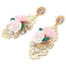 Women'S Fashion Accessories 3D Rose Pearl Rhinestone Chandelier Dangle Drop Korean Stud Earrings (Multicolor)