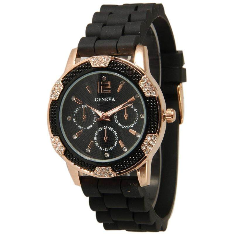 Women`s Black Rose Gold Geneva Faux Chronograph Silicone Watch with Crystal Rhinestones Bezel Malaysia