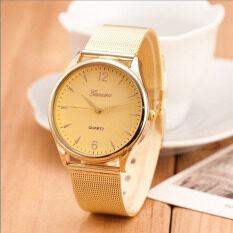 Womens Classic Gold Geneva Quartz Stainless Steel Wrist Watch Gold Malaysia