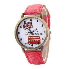 Womens Fashion Rounds Watch Simple Casual Meters Word Flag Popular Ladies Watch Red Malaysia