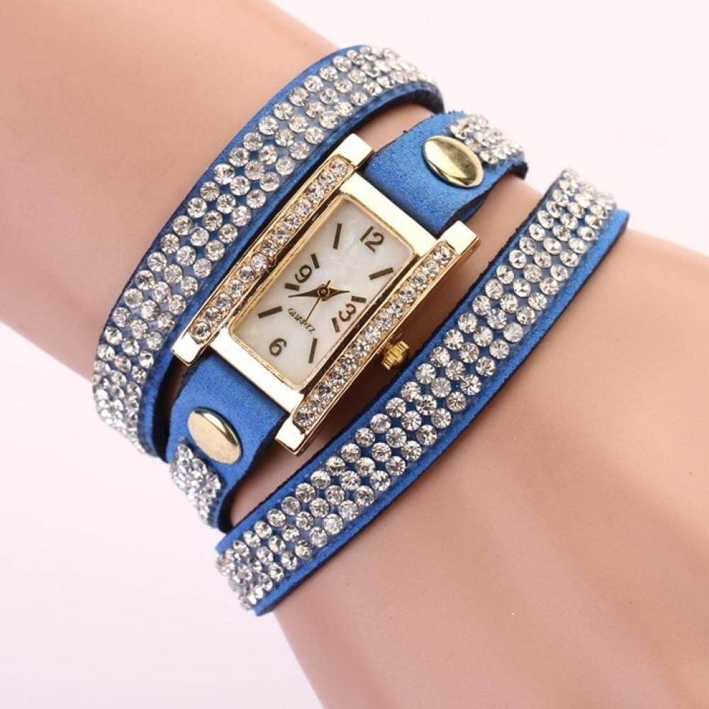 Nơi bán Women s Square Dial Rhinestone Weave Wrap Multilayer Watch Blue Wrist Bracelet - Intl Leather Watches