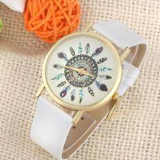 Womens Vintage Feather Dial Leather Band Quartz Analog Unique Wrist Watches Malaysia
