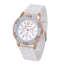 Womens White Rose Gold Chronograph Silicone with Crystal Rhinestones watch White Malaysia