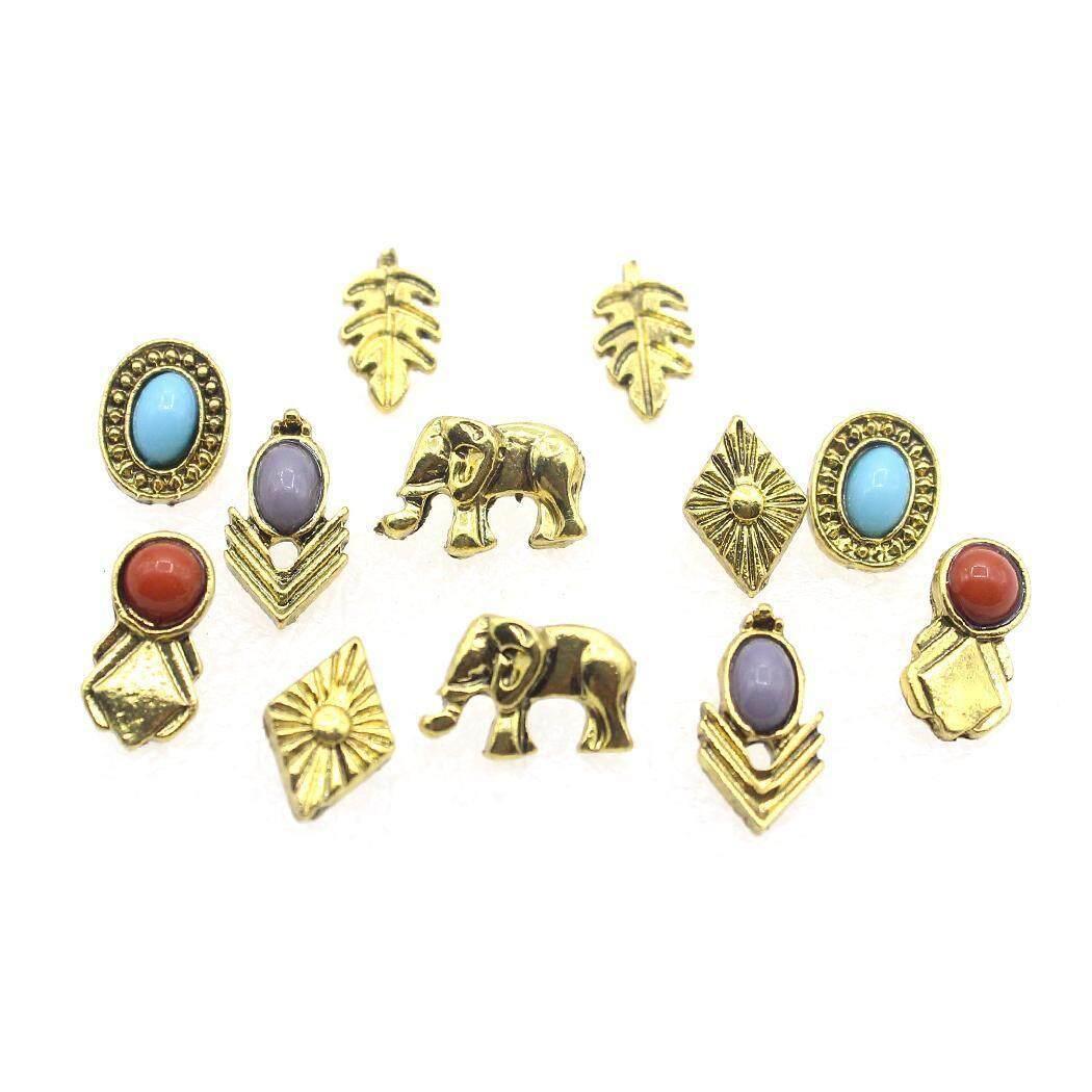 Wondershop Kemeja Atasan 6 Pair Wanita Perhiasan Fashion Gaya Antik Gajah Daun Telinga Anting Stud Set