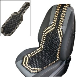 Universial Black/Brown Beaded Wooden Front Massage Seat Chair Cover Cushion Car Van