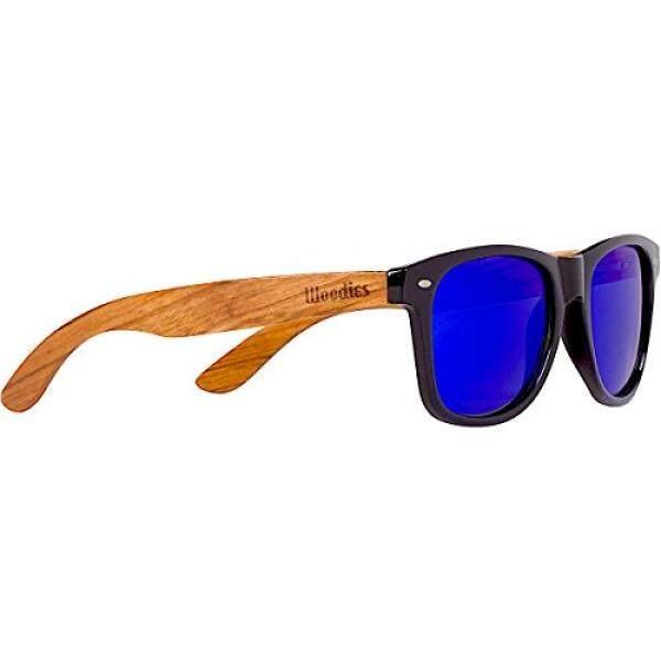 Woodies Kacamata Hitam Kayu Zebra dengan Biru Cermin Lensa-Intl