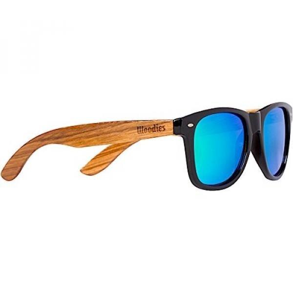Woodies Kacamata Hitam Kayu Zebra dengan Hijau Cermin Lensa-Intl