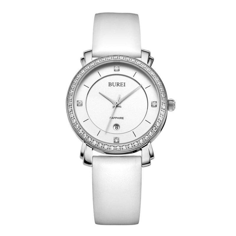 Nơi bán woowof Korean female students watch treasure shuttle genuine diamond quartz watch watch simple Leather Watch Strap Ladies waterproof watch (SilverWhite) - intl