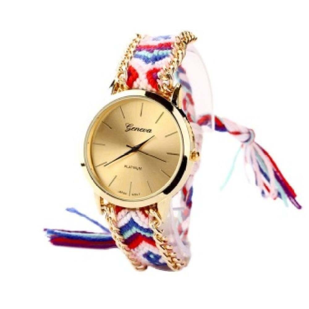 Wsj Hot Women Round Watch Dial Chain Wristwatchquartz Pink+blue.