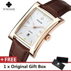 WWOOR Top Luxury Brand Watch Famous Fashion Sports Cool Men Quartz Watches Calendar Waterproof Leather Wristwatch For Male Brown Gold Malaysia
