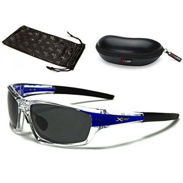 49a92bfdf2 X-Loop Polarized Wrap Around Fishing Driving Cycling Golf Sunglasses -  Clear   Gold