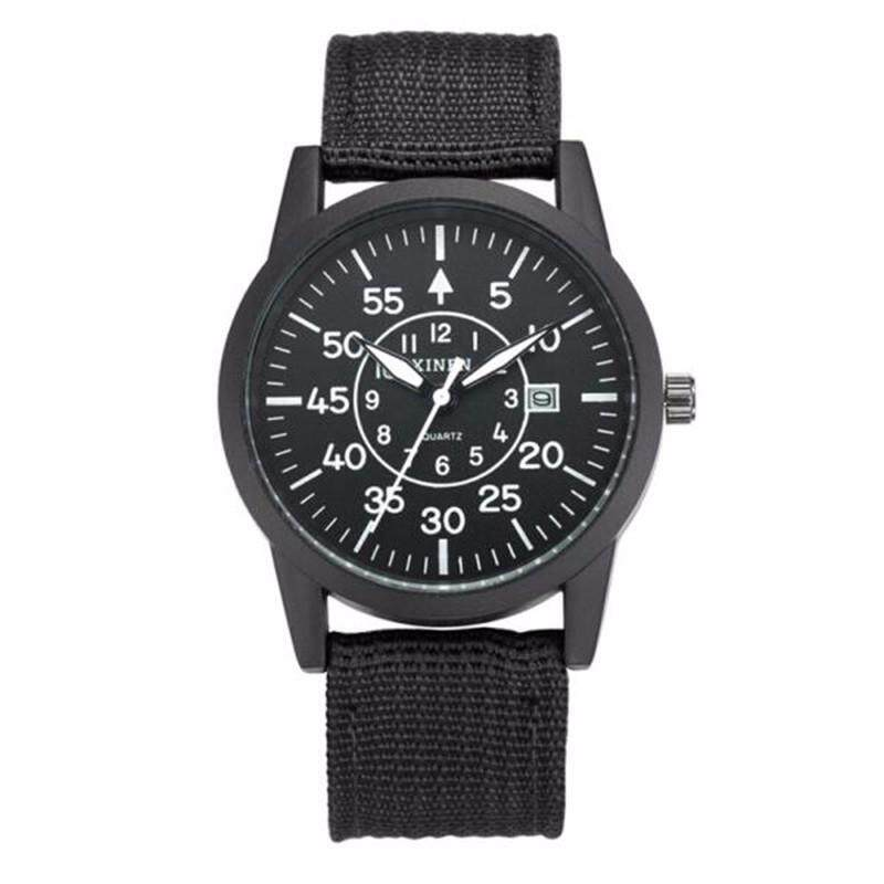 XINEW 2248 Mens Fashion Watch Weave Cloth Calendar Student Movement Quartz Watch Black belt  Black shell Malaysia