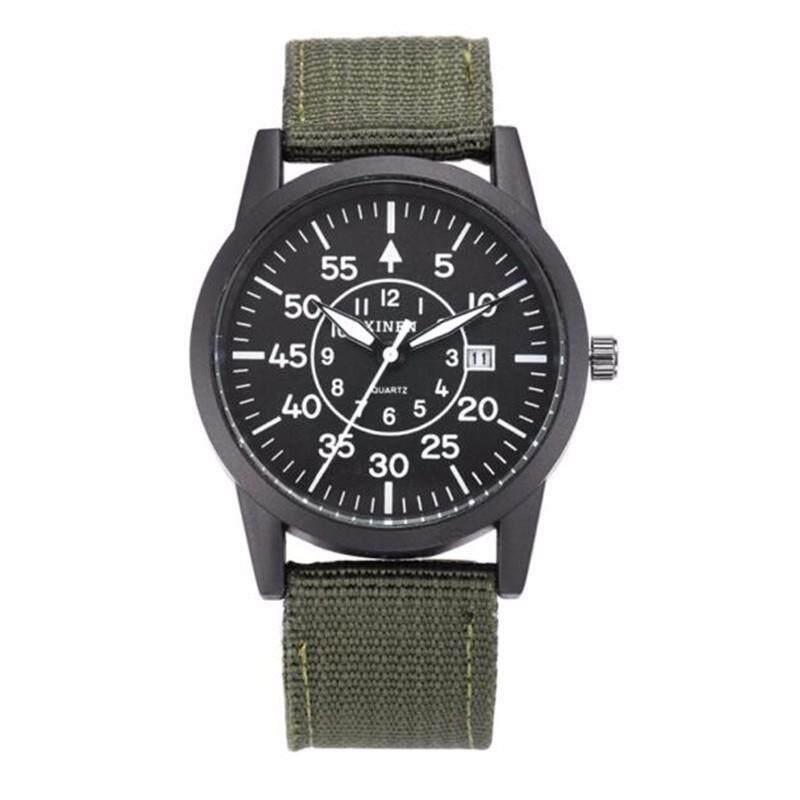 XINEW 2248 Mens Fashion Watch Weave Cloth Calendar Student Movement Quartz Watch (Green belt / Black shell) Malaysia