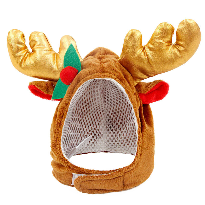 Xmas Christmas Pet Dog Reindeer Antlers Style Costume Warm Short Plush Hat with Hooks and Loops Fastener Christmas Decoration Supplies S
