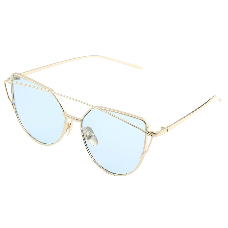 ... Koklopo Mata Kucing Mirrored Datar Lensa Bingkai Logam Wanita Kacamata Hitam UV400 Gold Laut Biru